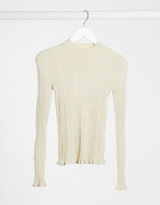 Miss Selfridge frill rib sweater in oatmeal
