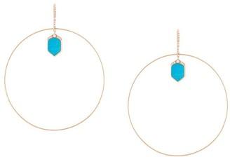Lapis and diamond set hoop earrings