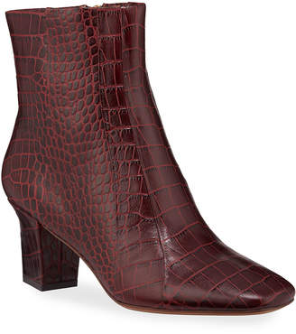 Veronica Beard Felix Croc-Embossed Leather Booties