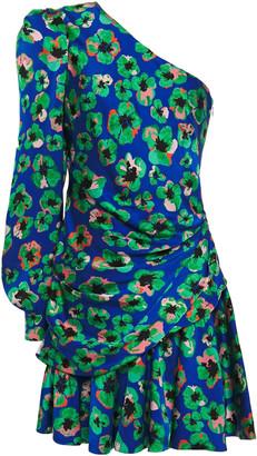 Borgo de Nor Christina One-shoulder Floral-print Hammered Silk-satin Mini Dress