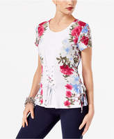 INC International Concepts Printed Lace-Up T-Shirt, Created for Macy's