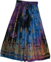 Yoga Trendz Womens Indian Sequin Crinkle Broomstick Gypsy Long Skirt