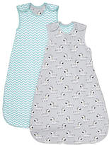 John Lewis Zebra Chevron Sleep Bag, Pack of 2, 2.5 Tog, Grey/Turquoise