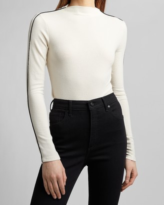 Express Tipped Sleeve Mock Neck Tee