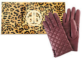 As Is Dennis Basso Quilted Lamb Leather Gloves with Button Accent
