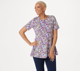 Denim & Co. Regular Printed Jersey Fit & Flare Top