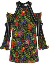 3.1 Phillip Lim Cutout Silk-Trimmed Floral-Print Crepe Mini Dress