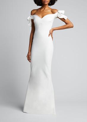 Chiara Boni Ruffle-Sleeve Sweetheart Mermaid Gown