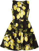 Izabel London Lemon Print Sleeveless Skater Dress