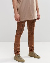 Asos Super Skinny Cargo Pants With Zip In Washed Brown