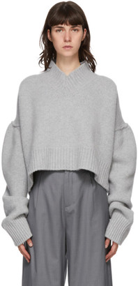 Bureau De Stil Grey Oversized V-Neck Sweater