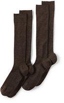 Classic Men's Seamless Toe OTC Wool Rib Dress Socks (2-pack)-Dark Charcoal Heather