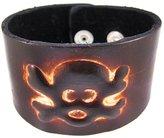 Zeckos Leather Skull & Crossbones Bracelet Wristband
