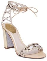 Rene Caovilla Crystal & Suede Ankle-Tie Block Heel Sandals