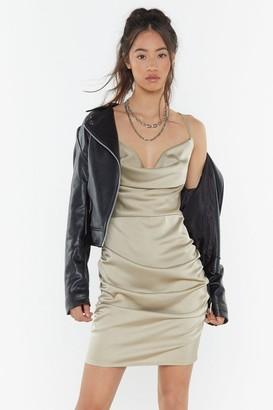 Nasty Gal Womens Cowl May I Help You Satin Mini Dress - beige - 12