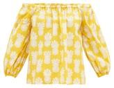 La DoubleJ Paloma Pineapple-print Off-shoulder Cotton Top - Womens - Pink Print