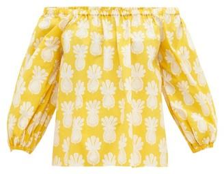 La DoubleJ Paloma Pineapple-print Off-shoulder Cotton Top - Pink Print
