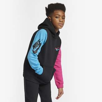 Nike Club Pullover Hoodie - Black / Light Blue Fury / Vivid Pink, Size One Size