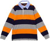 E-Land Kids Burnt Orange & Gray Rugby-Stripe Polo - Toddler & Boys