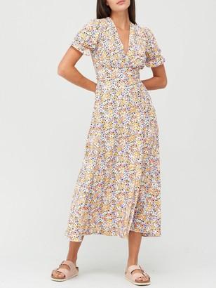 Very V-Neck Frill Tea Dress - Floral Print