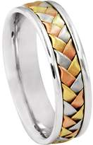 American Set Co. Men's Tri-color 18k White Yellow Rose Gold Woven 6mm Comfort Fit Wedding Band Ring size 5