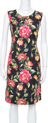 Dolce & Gabbana Black Floral Printed Jacquard Sheath Dress M