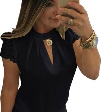 DEELIN Women Fashion Casual Chiffon Solid Short Sleeve O-Neck Splice Slim Lace Sexy Crop Top Blouse (S White)