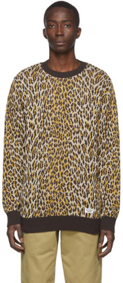 Wacko Maria Brown and Beige Leopard Jacquard Sweater