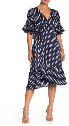 Line & Dot Elsie Ruffle Dot Print Wrap Dress