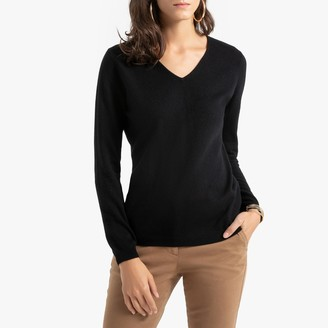 Anne Weyburn Cashmere V-Neck Jumper in Fine Knit