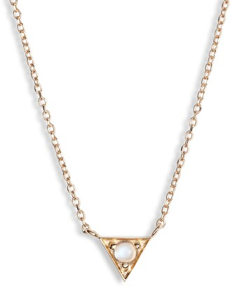 Anzie Cleo Moonstone Triangle Pendant Necklace