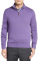 David Donahue Men's Cable Knit Silk Blend Quarter Zip Sweater