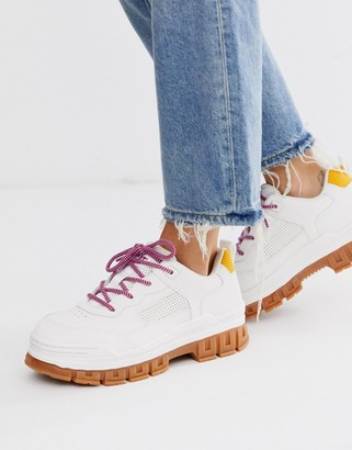 CAT Footwear CAT Exalt chunky cleated trainers in white-Pink
