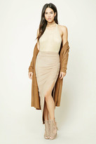 Forever 21 FOREVER 21+ Ruched Faux Suede Maxi Skirt