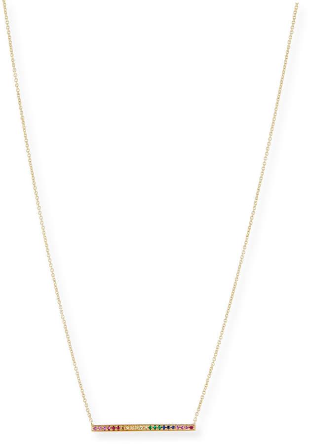 Sydney Evan Rainbow Sapphire Bar Pendant Necklace