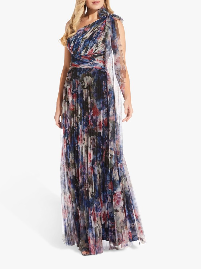 Adrianna Papell Shirred Floral Tulle Gown, Red/Blue