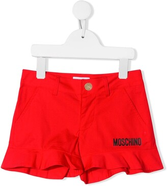 MOSCHINO BAMBINO Logo-Print Ruffle Shorts