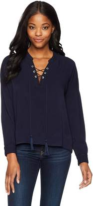 Margaritaville Women's Long Sleeve Relaxed Fit Lace Up Everyday Blouse
