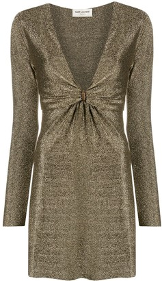 Saint Laurent Metallic Plunging-Neck Dress
