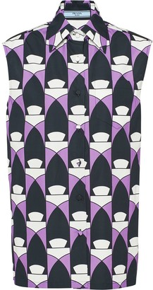 Prada Geometric-Print Sleeveless Shirt