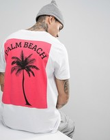 Asos Longline T-Shirt With Pink Palm Back Print