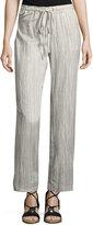 Joan Vass Striped Drawstring-Waist Pants, Beige