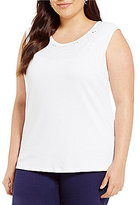 Allison Daley Plus Crew-Neck Embroidered Eyelet Front Detail Solid Tank