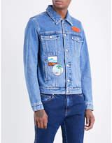 Kenzo Badge-embroidered denim jacket