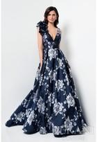 Terani Evening - Scoop Back Floral Print A-line Dress 1711M3388