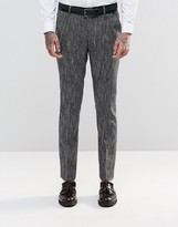 Asos Slim Suit Trousers In Textured Fabric In Black And White