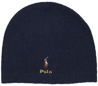 Ralph Lauren Wool Blend Beanie Hat W/ Bear Patch