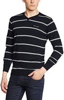 Teddy Smith Men's PATFULLY Striped V-Neck Long Sleeve Jumper