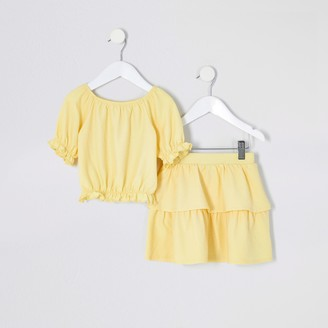 River Island Mini girls Yellow puff sleeve top outfit
