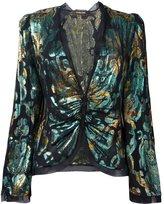 Roberto Cavalli gathered jacquard blouse